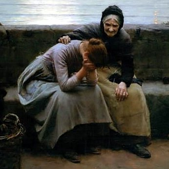 Painting of an older woman comforting a younger woman holding her face in her hands