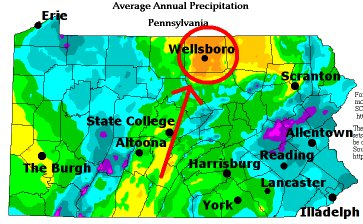 Precipitation map of PA with City Labels