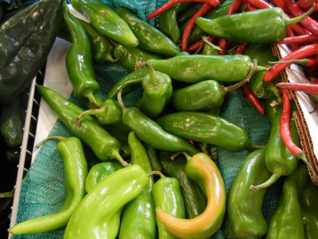 Green Anaheim peppers, relatively large, fairly long, slightly wrinkly, light-ish green