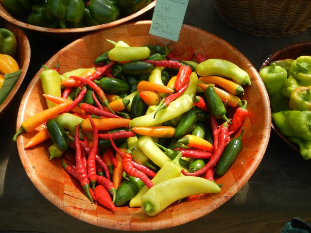 Assorted hot peppers in a bowl,showing long, narrow red peppers, small, shiny green, pale yellow-green, and small carrot-colored ones