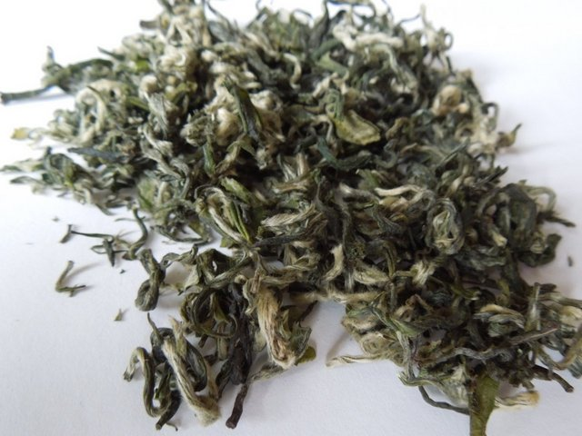 Loose-leaf green tea with silvery buds, curled into squiggly, almost snail-like shapes