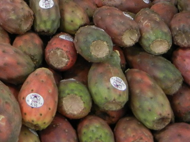 Cactus pears, a deep red and green in color