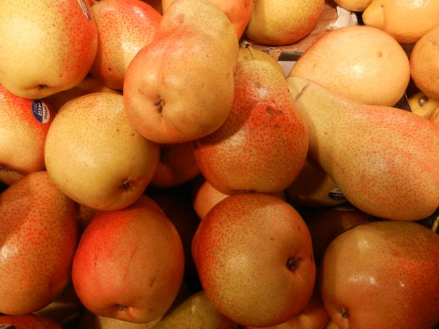 Forelle pears, yellow pears with a pinkish tinge and some fine spots