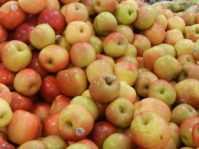 A bunch of Fuji apples, greenish and reddish, some with bruises
