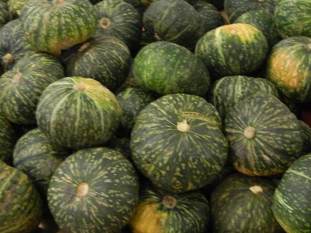 Dark green, pumpkin-shaped squash, with light green stripes and spots, and a few yellowish patches