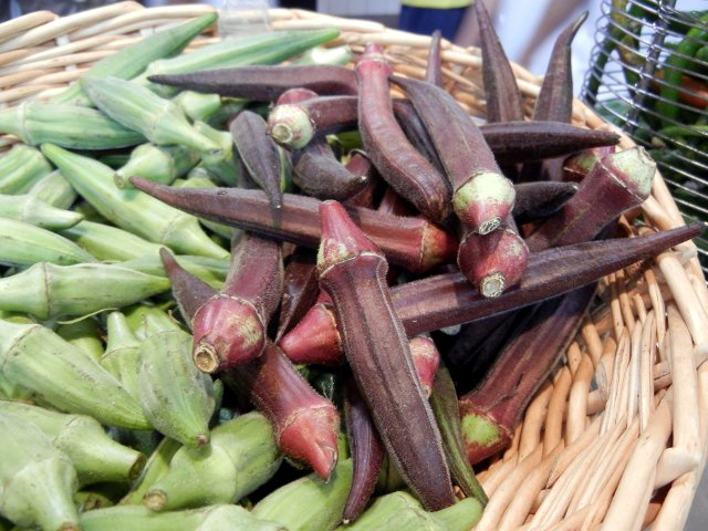 Red okra pods, in a basket, with green okra pods on the left