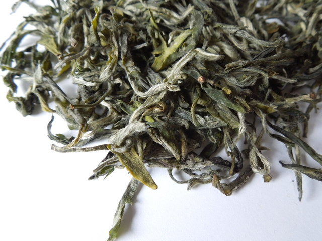 Loose-leaf tea showing downy white hairs on buds, and twisted, yellow-green leaves