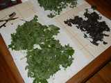 Several piles of herbs drying on a table