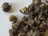 green tea tightly-rolled into small pearl shapes