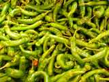 Long, green, crinkly hot peppers