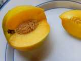 A mango nectarine, sliced, a fruit with yellow flesh and smooth, green-yellow skin, on a white plate with blue trim