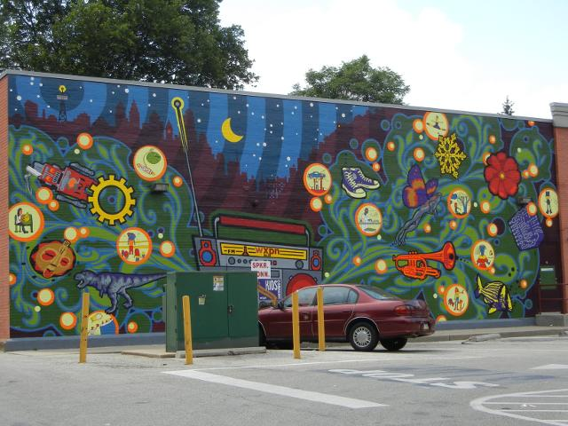 wonders of radio mural  kids corner mural   cvs  43rd at locust  west philadelphia